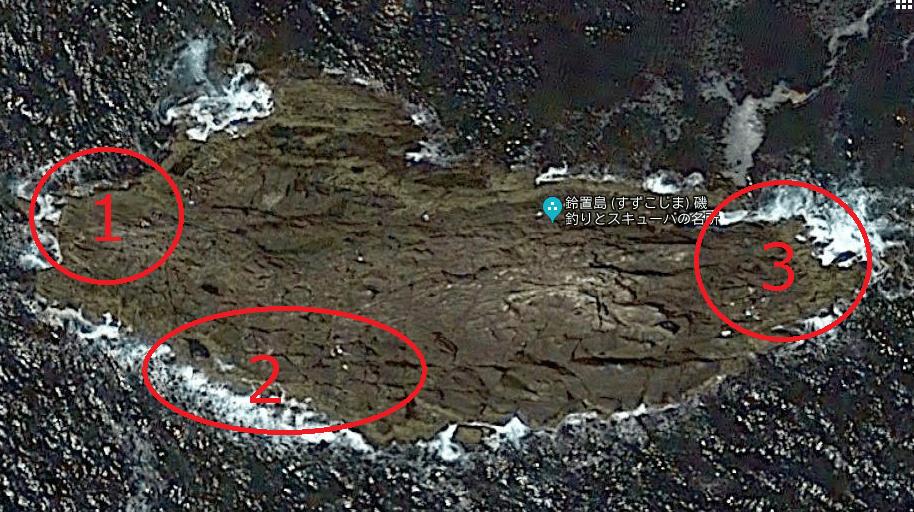 熊野の沖磯の鈴置島(すずこじま)のポイント